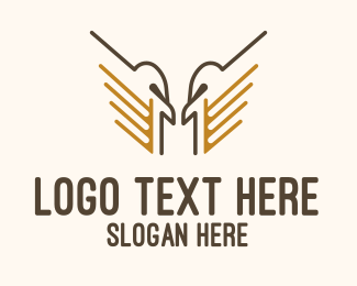 Pilot Training - Eagle Wings Line Art logo design