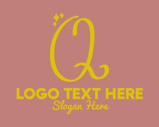 Sparkle - Gold Sparkle Letter Q logo design