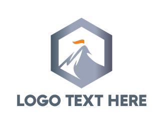 Glacier - Hexagon Steel Mountain logo design