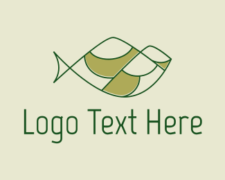 Meadow - Green Minimalist Fish Hills logo design