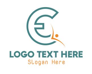 Letter - Blue Letter E logo design