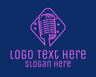Interview - Neon Vintage Microphone  logo design
