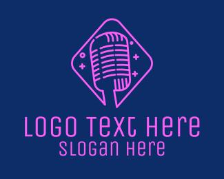 Microphone - Neon Vintage Microphone logo design