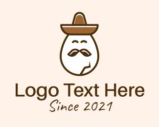 Mexican Hat - Sad Mascot Egg  logo design