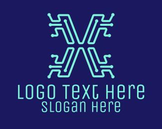 Software Development - Digital Circuit Letter X logo design