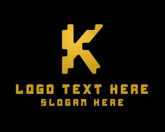 Letter K - Jagged Letter K logo design