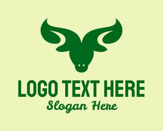 Grass Fed - Organic Leaf Bull  logo design