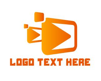 Movies - Gradient Play Box logo design