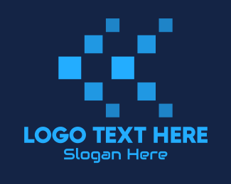 Pixelate - Blue Digital Tech Pixels logo design
