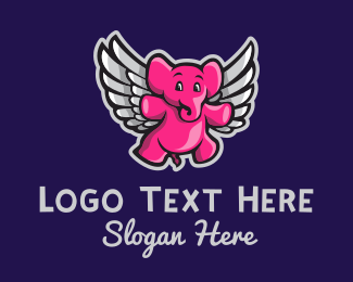 Baby Store - Elephant Wings  logo design