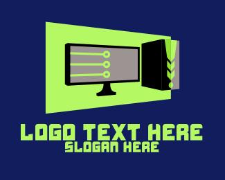 Computer Hardware - Digital Computer Setup logo design