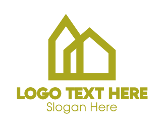Yellow House - Yellow Geometric House logo design