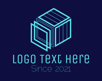 Logistic Service - Blue Cubic Construction  logo design