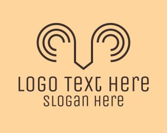 Mountain Goat - Minimalist Ram Horns logo design