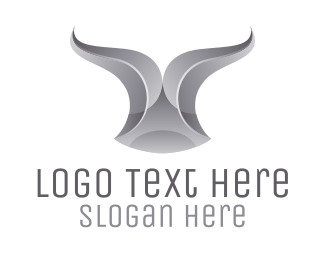 Horn - Chrome Ribbon Bull Horn logo design
