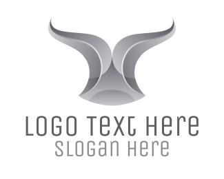Matador - Chrome Ribbon Bull Horn logo design