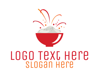 Fireworks - Rice Bowl Restaurant logo design