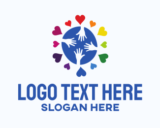 Humanity - Community Hand Hearts logo design