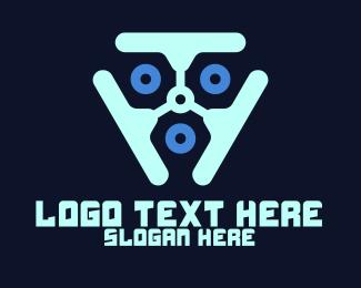Connected - Blue Futuristic Technology logo design