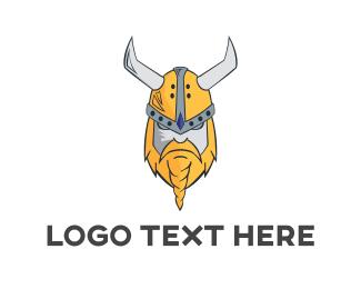 War - Viking Mascot Beard logo design