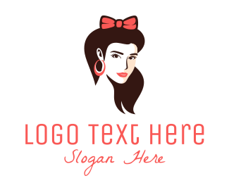 Glamour - Pretty Bow Woman logo design