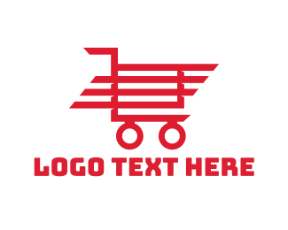 Trolley - Red Shopping Cart logo design