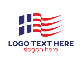 Brazilian - Blue Red Stripe Flag logo design