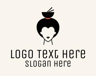 Sashimi - Asian Geisha Meal Bowl logo design