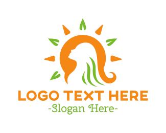 Skincare - Tropical Beauty Woman Hair logo design