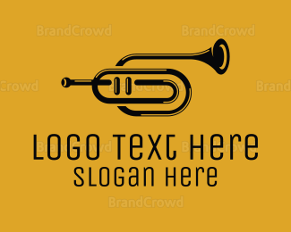 Jazz - Black & White Trumpet logo design