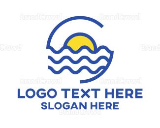 Resort - Tropical Sun Outline logo design