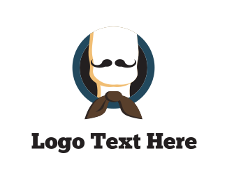 Brown Man - Bow & Moustache logo design