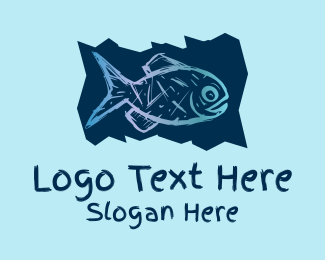 Marine Biology - Blue Fish Drawing  logo design
