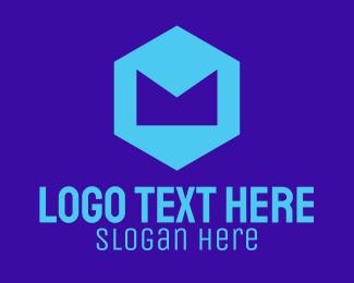 Crown - Blue Geometric Letter M logo design