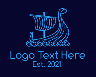 Voyage - Monoline Viking Ship logo design