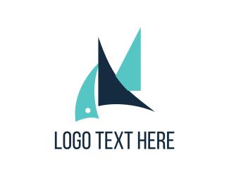Wind - Blue Sailboats logo design