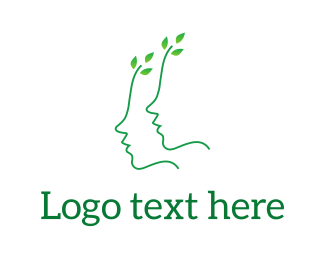 Cherry Tree - Green Leaves Face logo design