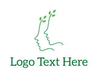 Massage - Green Leaves Face logo design