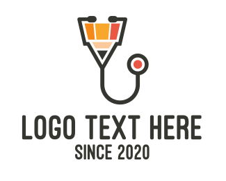 Knowledge - Pencil Stethoscope logo design