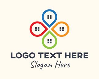 Geolocator - Multicolor Real Estate Locator logo design