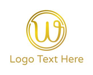 Cursive - Gold Cursive W logo design