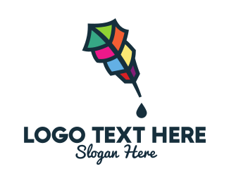 Colorful Feather Pen Logo