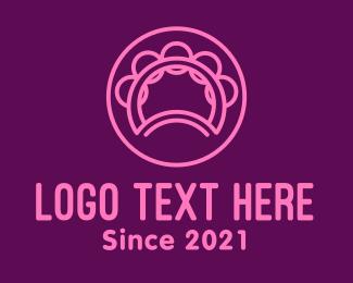 Drum School - Pink Tambourine Outline logo design