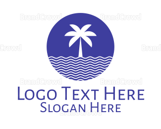 Countryside - Blue Tropical Coconut Tree logo design