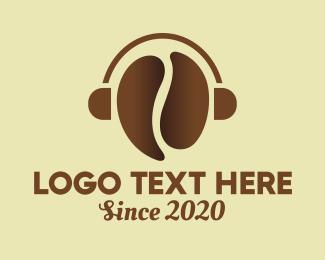 Playlist - Coffee Bean Headphones logo design