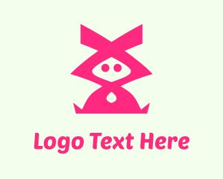 Bunny - Pink Character logo design
