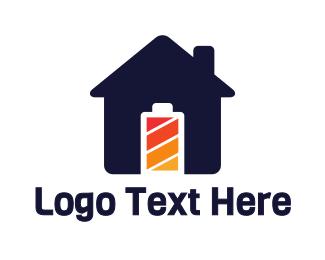 Full - Blue House Battery logo design