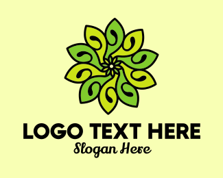 Detailed - Organic Bright Green Flower logo design