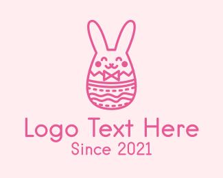 Easter Bunny - Pink Easter Egg Bunny  logo design