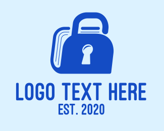Unlock - Blue Padlock Book logo design